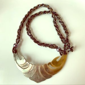 Jewelry - Carved Shell Beaded Necklace